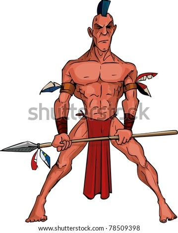 Cartoon Mohawk warrior with a spear. Isolated on white
