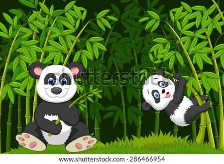 cartoon mom and baby panda in