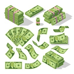 Cartoon money bills. Green dollar banknotes cash vector icons. Cash money paper, financial pile banknotes illustration