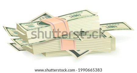 Cartoon money bills. Green dollar banknotes cash vector icons. Cash money paper, financial pile banknotes, currency. Big pile of cash-in-hand. Hundreds of dollars, american valuta, green banknotes Foto d'archivio ©