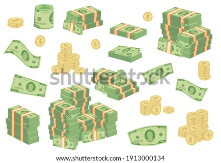 Cartoon money bills. Green dollar banknotes cash vector icons. pile of dollars and banknote heap abundance bundle. Cash bill green investment moneys piles for commercial banking