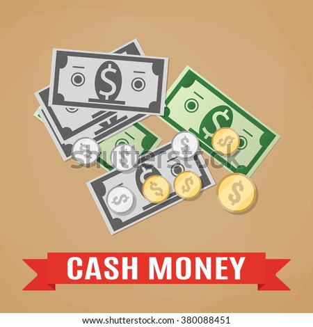 Cartoon money cash, green and grey dollars and silver and gold coins with sign on red, money concpet, income, financial, vector illustration in flat design on brwon background