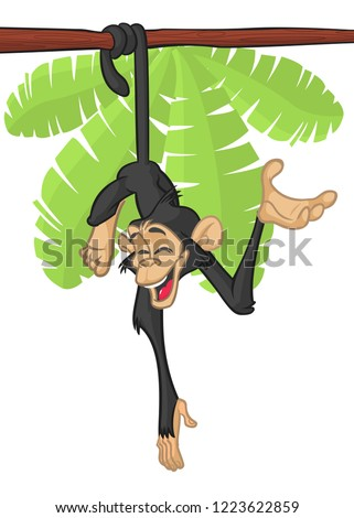 Cartoon monkey chimpanzee hang down the tree