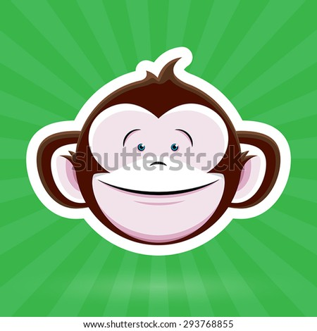 stock-vector-cartoon-monkey-face-with-happy-childlike-expression-on-green-background-vector-design