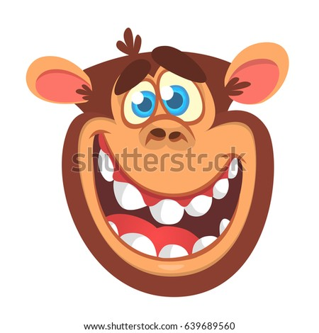 Cartoon monkey head icon. Vector illustration of smiling chimpanzee character isolated. Great for banner, sticker, emblem, logo or children book illustration