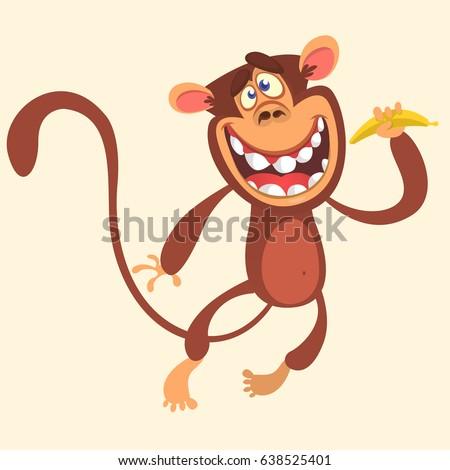 Cartoon monkey holding banana and jumping. Vector illustration of smiling chimpanzee character isolated