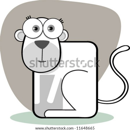 cartoon black and white monkey