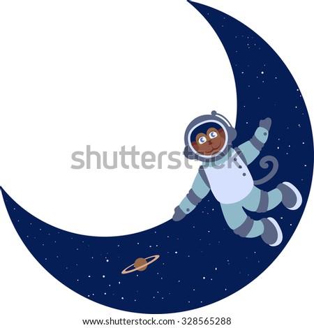 cartoon monkey in space