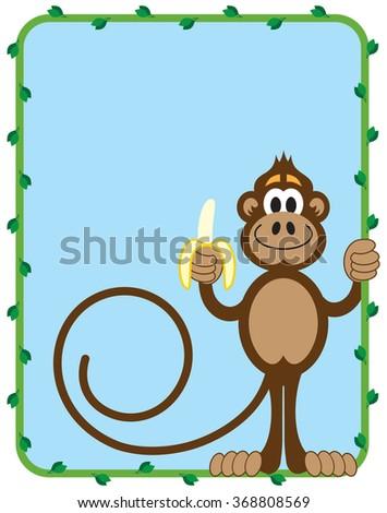 stock-vector-cartoon-monkey-inside-vine-frame-preparing-to-eat-a-banana