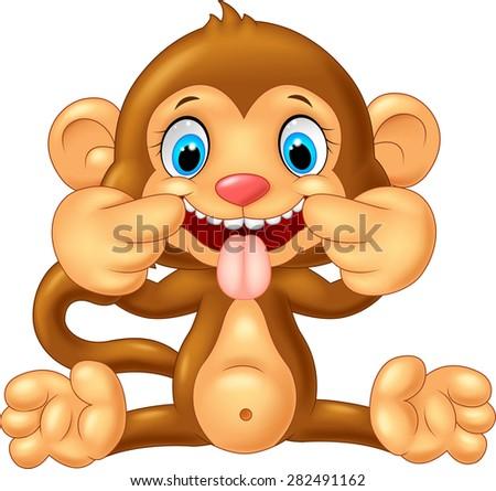 cartoon monkey making a teasing