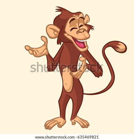 Cartoon monkey smiling. Vector illustration