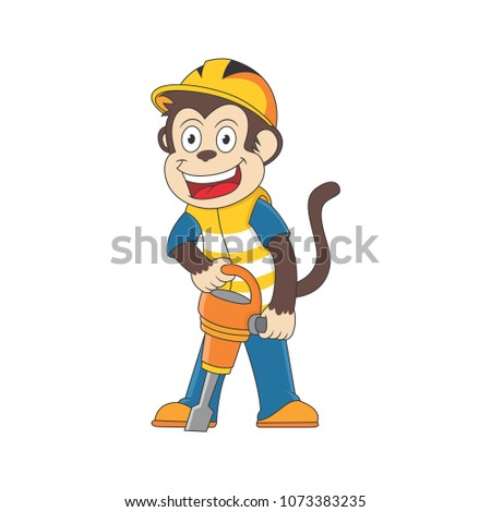 cartoon monkey using a drill