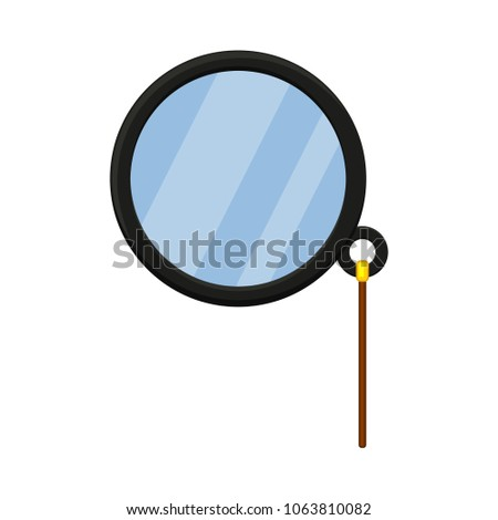 Cartoon monocle. Hipster vector illustration for gift card certificate sticker, badge, sign, stamp, logo, label icon, poster, patch, banner invitation
