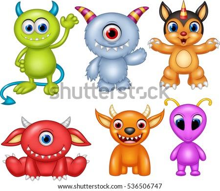 cartoon monster collection set