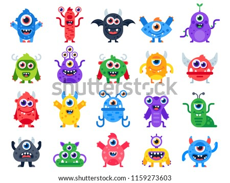 Cartoon monster. Cute happy monsters, halloween mascots and funny mutant devil and cyclops beast toys logo creature with horn and wing. Scary cheerful creatures character vector flat isolated icon set