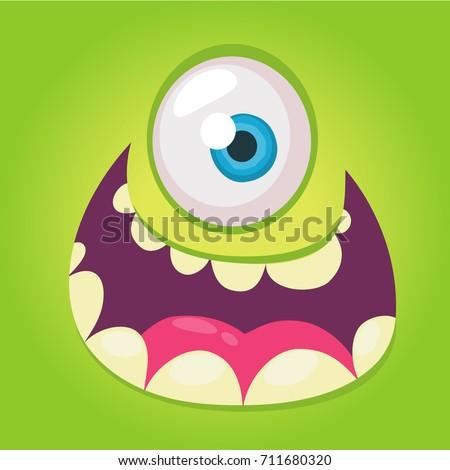 cartoon monster face vector