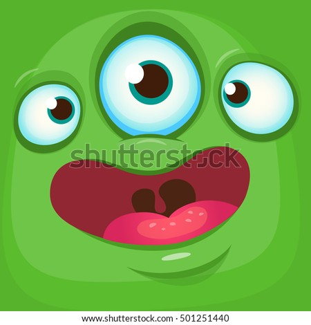 Cartoon monster face. Vector Halloween green monster avatar with three eyes smiling