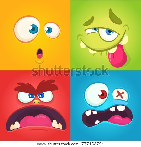 cartoon monster faces set