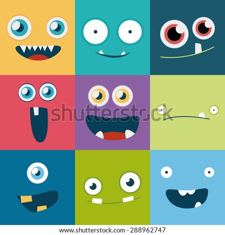cartoon monster faces vector