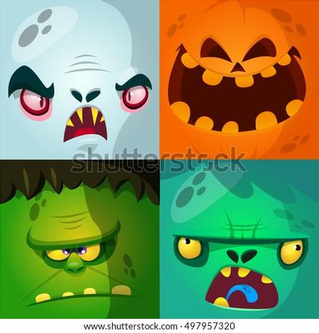 cartoon monster faces vector