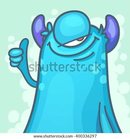 cartoon monster giving thumbs up