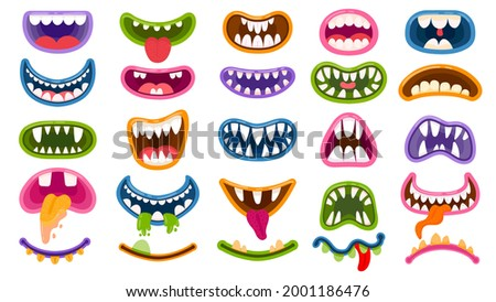 Cartoon monster mouths. Scary and mouth with teeth and tongue. Halloween masks, monsters joker laugh and creepy clown smile vector set. Monster and comic mouth, character halloween illustration