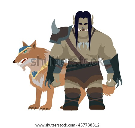 cartoon monster orc with wolf