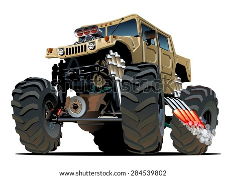 Cartoon Monster Truck. Available EPS-10 vector formats separated by groups and layers with transparency effects for one-click repaint
