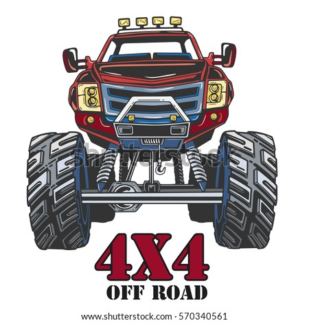 Cartoon Monster Truck. Extreme Sports vector illustration. 4x4. Vehicle SUV Off Road. Can be printed on T-shirts, bags, posters, invitations, cards, phone cases, pillows. Place for your text.