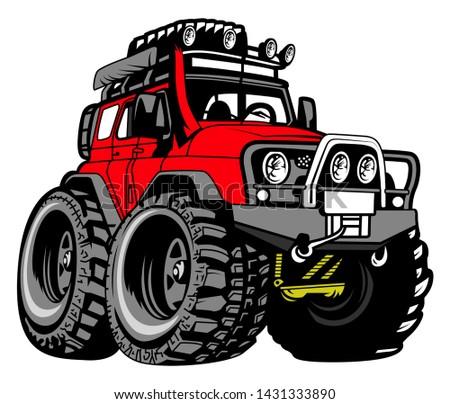 Cartoon Monster Truck Vector Art