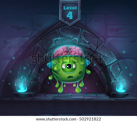 cartoon monster with brains in