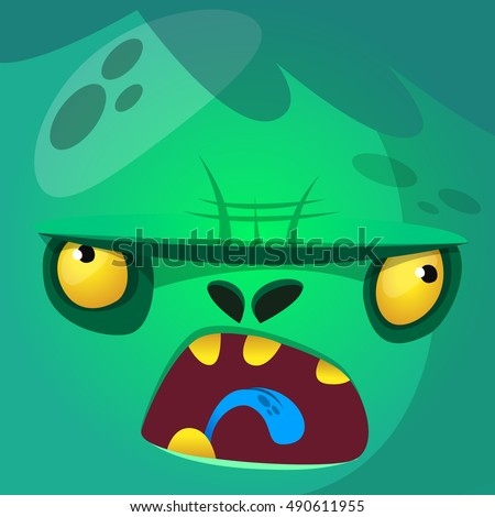 cartoon monster zombie face