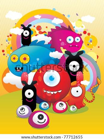 cartoon monsters vector illustration