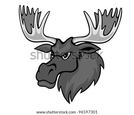 Cartoon moose with hornes for mascot. Vector illustration - stock vector
