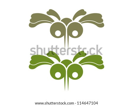 Cartoon Mosquito in Two Different Colors. - stock vector