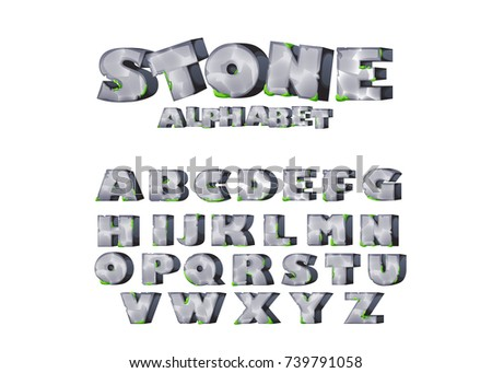 Cartoon mossy stones, rock font. ABC,  - set of game alphabet. Letters  for game design, posters, comics, banners, kids' illustration. Typeface font vector illustration.