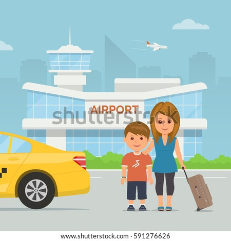 Cartoon mother and child with luggage on background airport terminal. Holidays and travel. Vector illustration family at modern airport building and taxi service transfer.