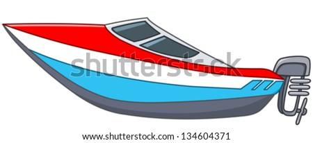 Cartoon Motor Boat Stock Vector Illustration 134604371