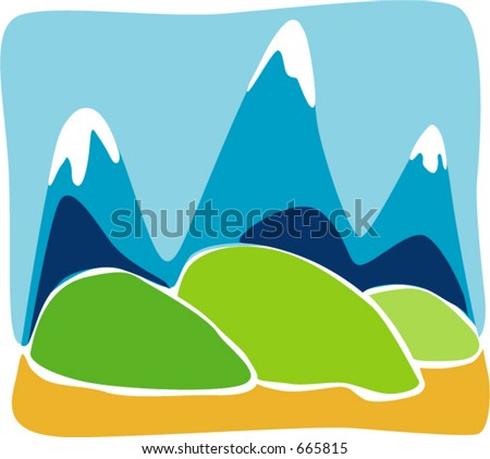 cartoon images of mountains. Cartoon mountain icon