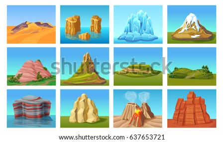 Cartoon mountain landscapes set with desert hills green peaks stones rocks in water ice mounts volcanoes isolated vector illustration