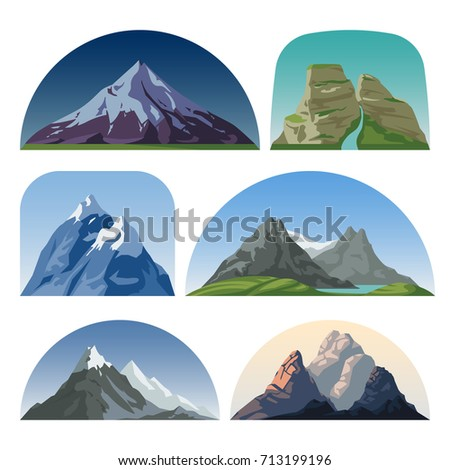 cartoon mountain side vector...