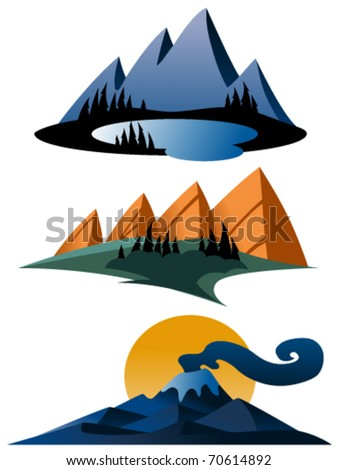 cartoon images of mountains. Cartoon Mountains Vector