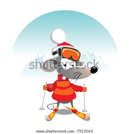 cartoon Mouse on the Ski
