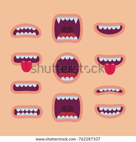 Cartoon mouths set. Smile