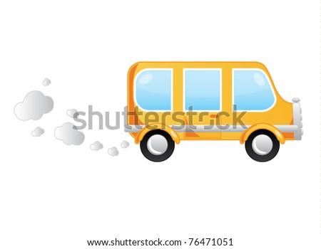 Cartoon moving bus vector illustration