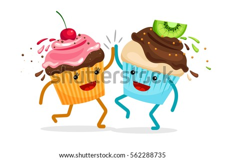 Cartoon muffins forever friends. Cupcakes clap hands vector illustration.