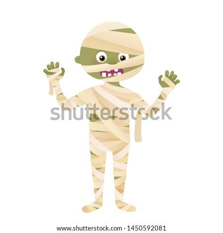 Cartoon mummy monster character, Halloween costume vector isolated on white Stock fotó ©