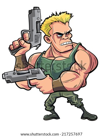 cartoon muscled soldier with