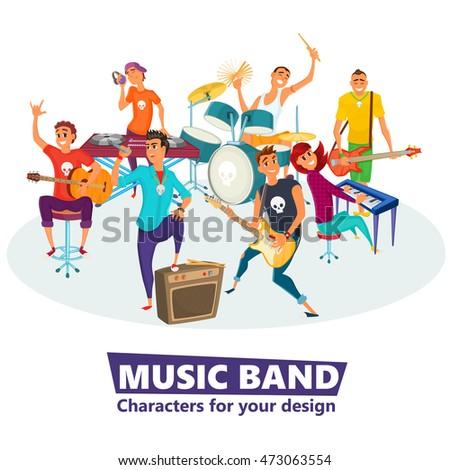 Cartoon music band. Concept music character design. Vector illustration