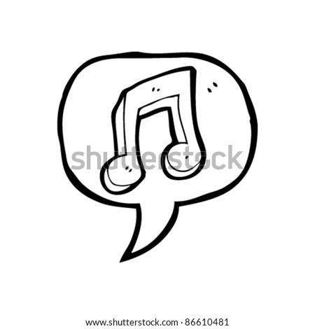 cartoon music note in speech bubble